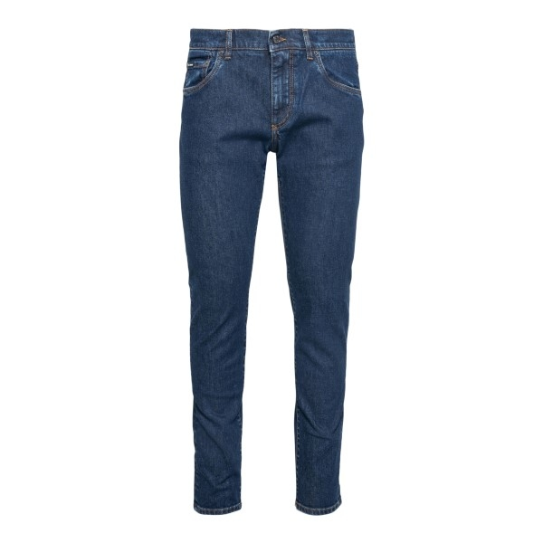 Blue jeans with logo patch                                                                                                                            Dolce&gabbana GY07CD front