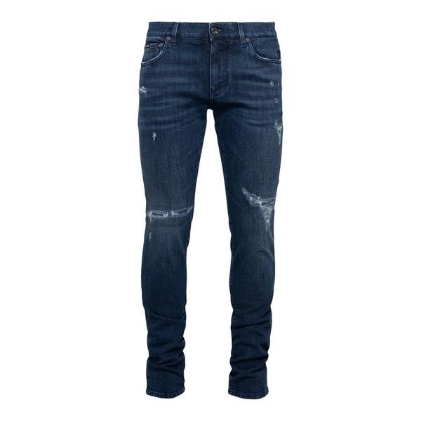 Jeans slim blu a effetto vissuto                                                                                                                      Dolce&gabbana GY07LD fronte