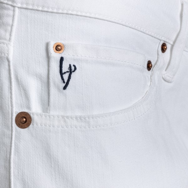 White tight jeans with logo patch                                                                                                                      HAND PICKED