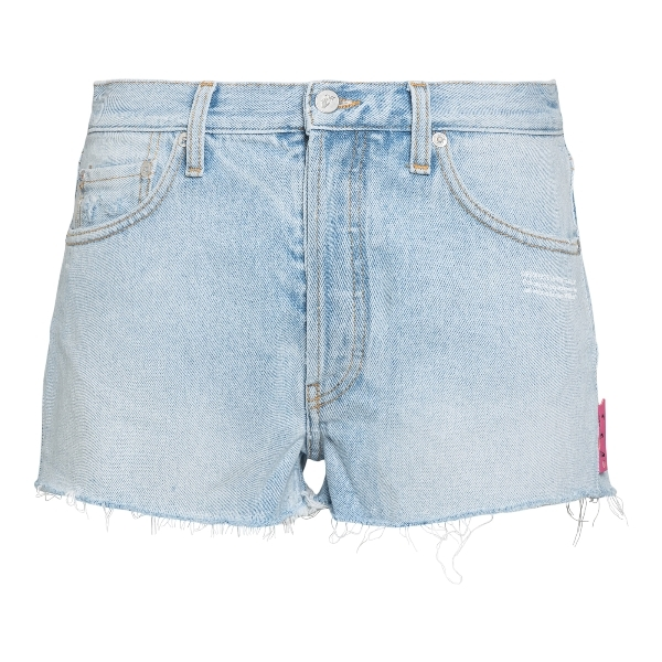 Blue denim shorts with logo                                                                                                                           Off white OWYC002R21DEN001 front