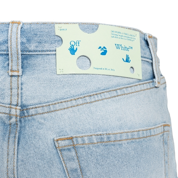 Blue denim shorts with logo                                                                                                                            OFF WHITE