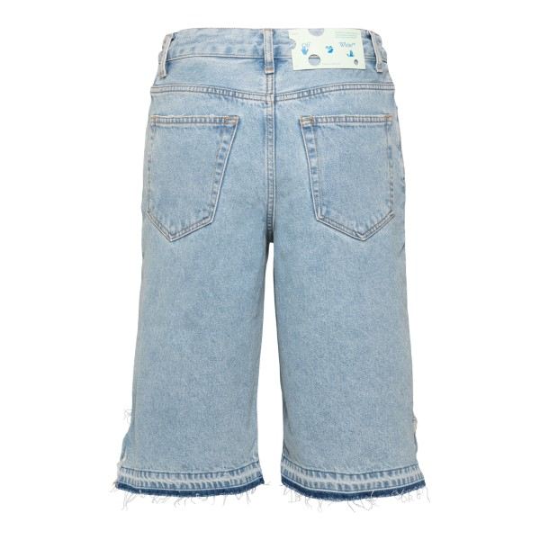 Bermuda shorts in light blue denim with print                                                                                                          OFF WHITE