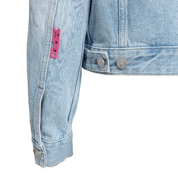 Light blue denim jacket with print on the bac                                                                                                          OFF WHITE
