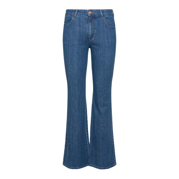 Flared blue jeans with colored stitching                                                                                                               SEE BY CHLOE