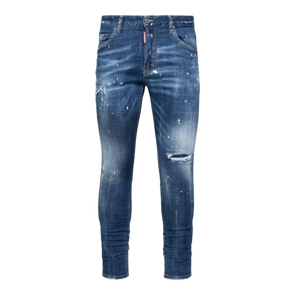 Blue embroidered distressed skinny jeans                                                                                                              Dsquared2 S71LB0774 front