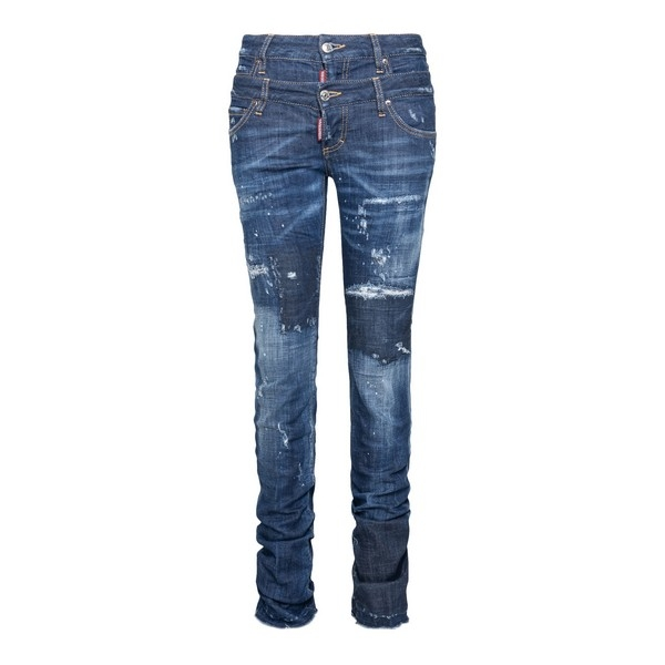 Blue jeans with a worn effect                                                                                                                         Dsquared2 S72LB0315 front