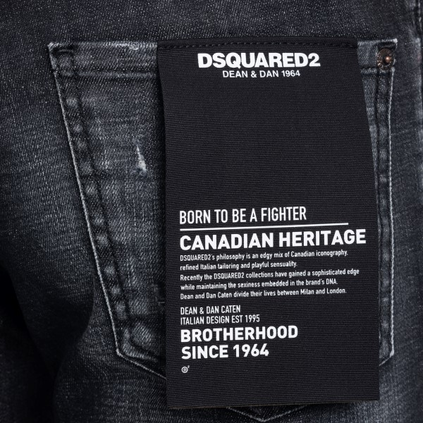 Distressed effect black denim jeans                                                                                                                    DSQUARED2