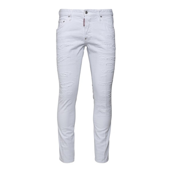 White jeans with a worn effect                                                                                                                        Dsquared2 S74LB0861 front