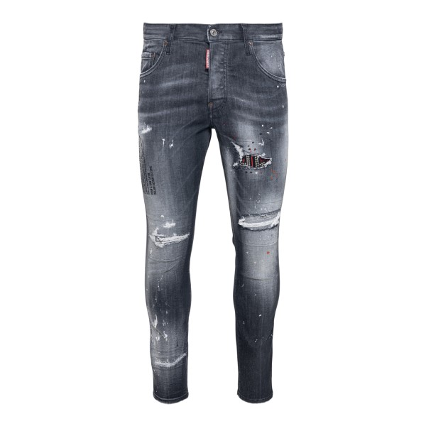 Distressed grey jeans with print                                                                                                                      Dsquared2 S74LB0926 front