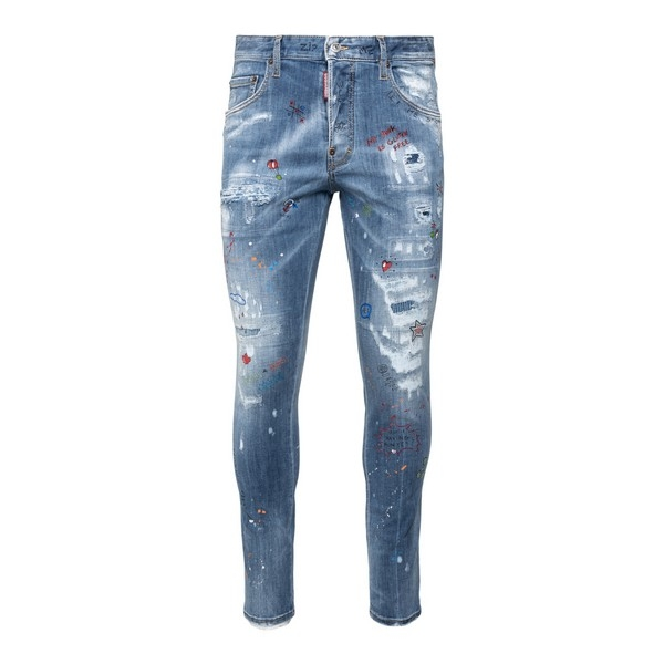 Distressed effect jeans with prints                                                                                                                   Dsquared2 S74LB0922 front