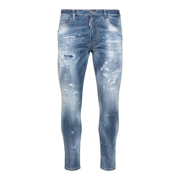 Blue distressed skinny jeans                                                                                                                          Dsquared2                                          S74LB0995 back
