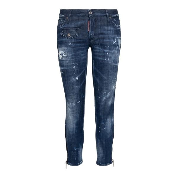 Jeans blu con effetto vissuto                                                                                                                         Dsquared2 S75LB0439 retro