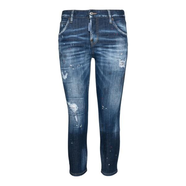 Jeans blu skinny a effetto vissuto                                                                                                                    Dsquared2 S75LB0465 retro