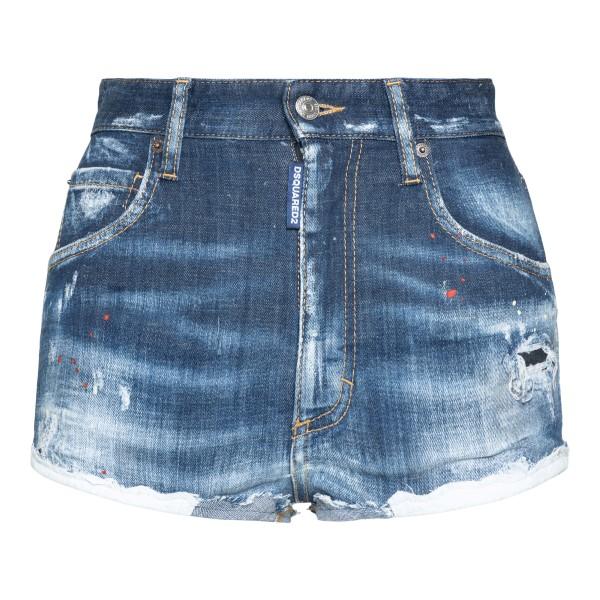 Pantaloncini in denim blu effetto vissuto                                                                                                             Dsquared2 S75MU0384 retro