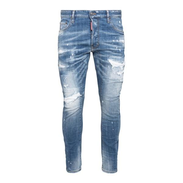 Distressed-effect slim jeans                                                                                                                          Dsquared2 S79LA0022 front