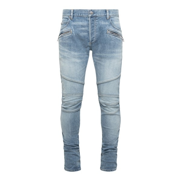 Light blue skinny jeans with stitching                                                                                                                Balmain VH1MG006011D front