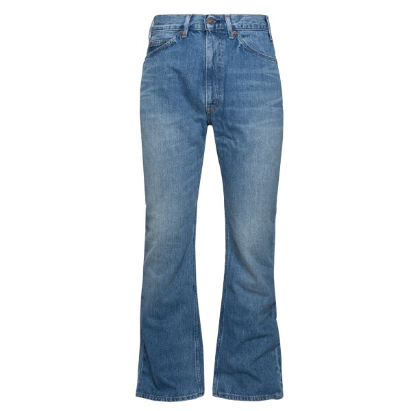 Blue flared jeans with logo patch                                                                                                                     Valentino VV0DD01G back