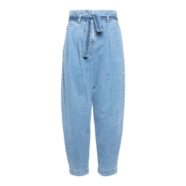 High-waisted blue jeans with belt                                                                                                                     Wandering WGW20641 front