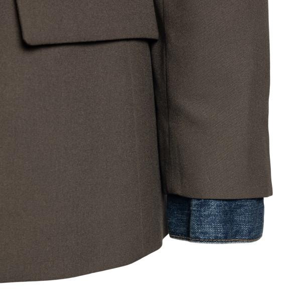 Giacca a doppiopetto verde con retro in jeans                                                                                                          SACAI                                              SACAI