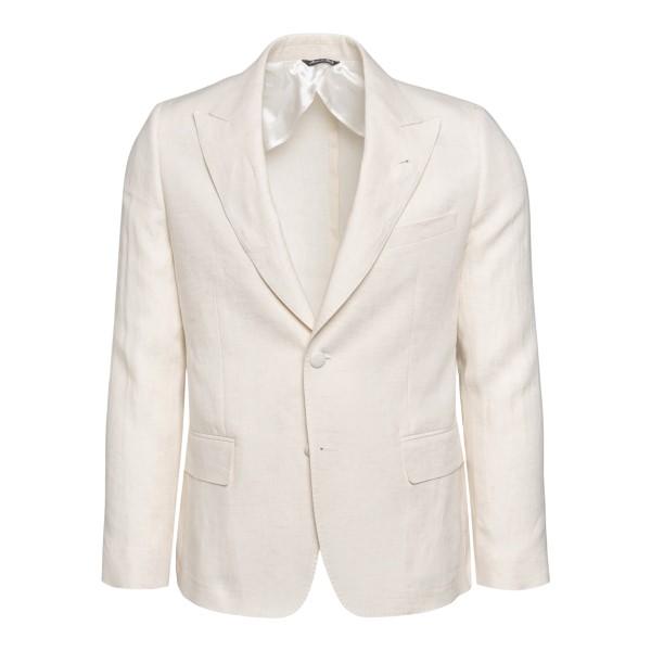 Single-breasted white jacket                                                                                                                           REVERES