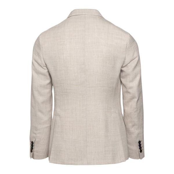 Single-breasted beige jacket                                                                                                                           REVERES
