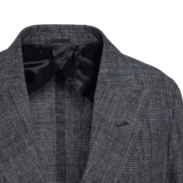 Grey jacket with checked texture                                                                                                                       REVERES