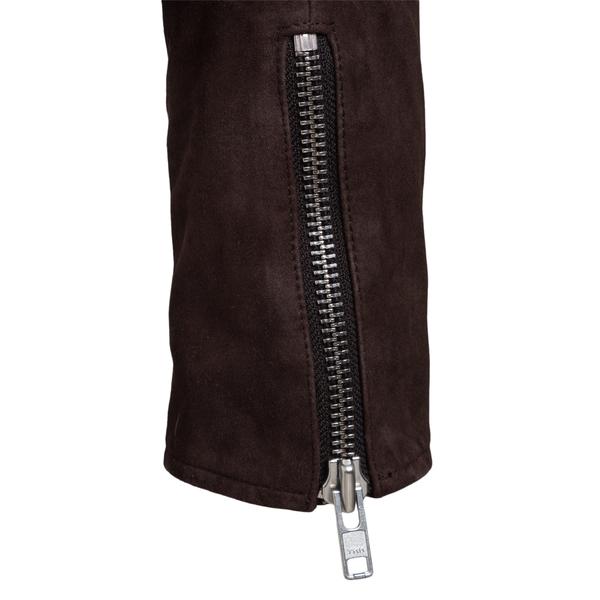 Brown jacket with off-center zip                                                                                                                       SWORD