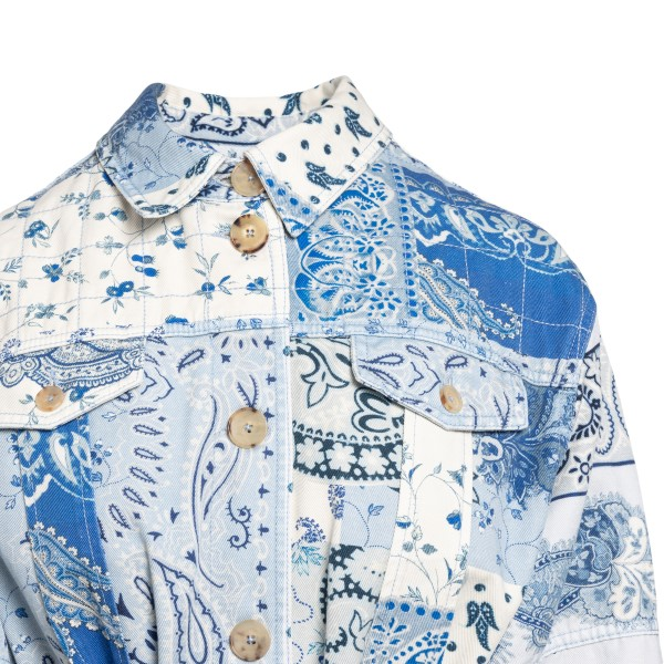 White and blue shirt jacket with print                                                                                                                 ETRO
