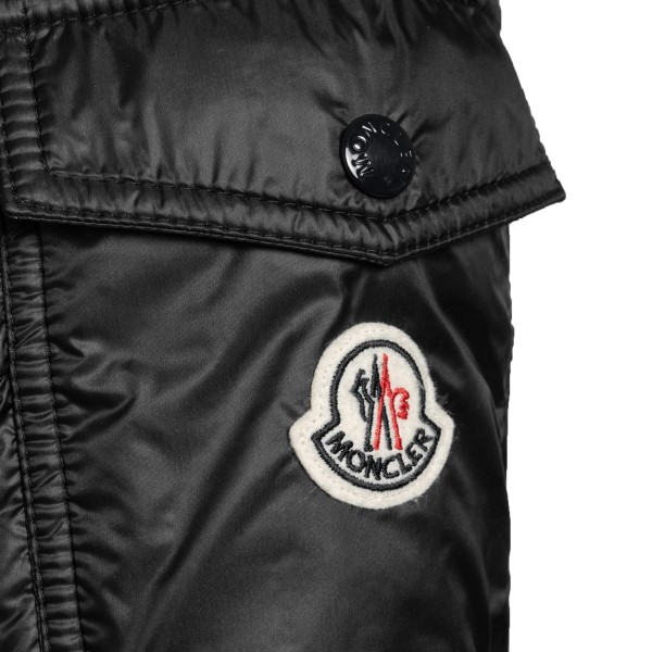 Black down jacket with patch on the sleeve                                                                                                             MONCLER