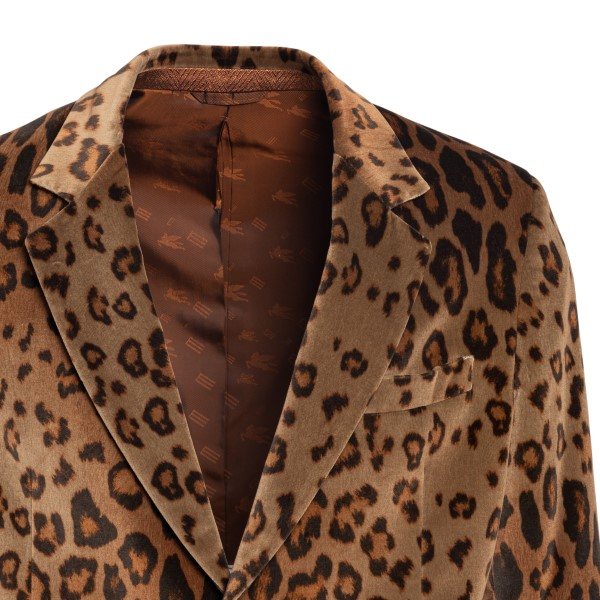 Blazer marrone in pattern animalier                                                                                                                    ETRO ETRO
