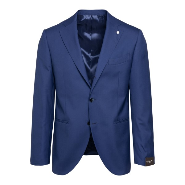 Elegant blue blazer with application                                                                                                                  Lubiam 2305 front