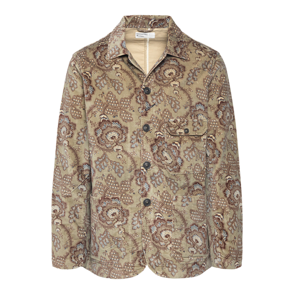 Green jacket with floral print                                                                                                                         UNIVERSAL WORKS
