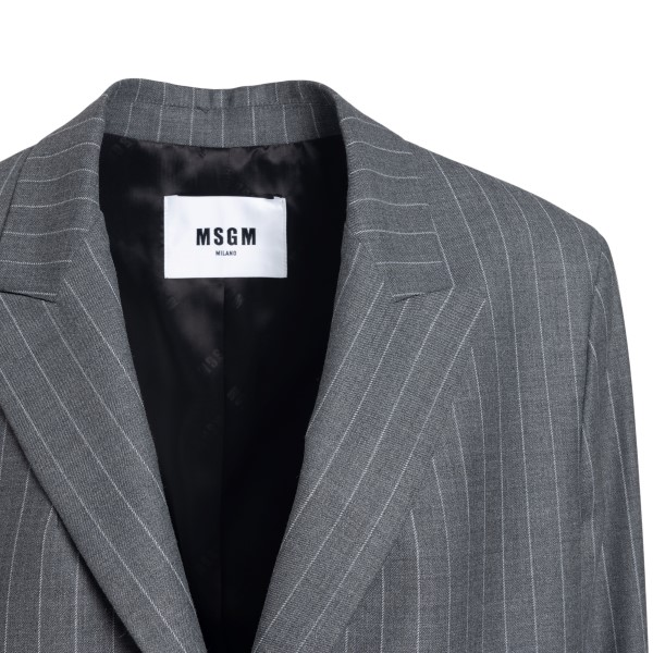 Blazer grigio a righe verticali                                                                                                                        MSGM MSGM