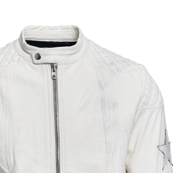 White leather jacket with patch                                                                                                                        SWORD