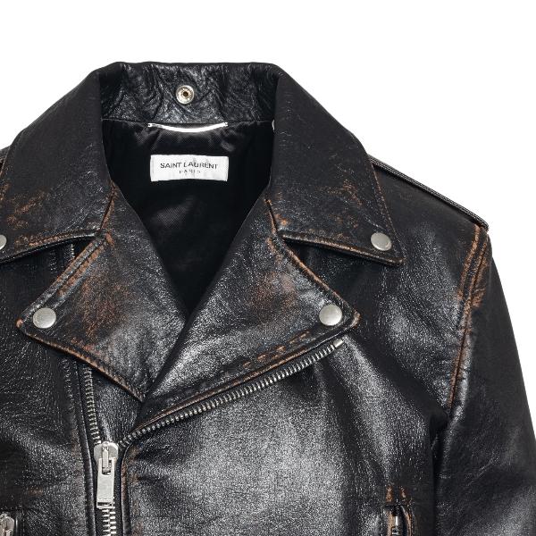 Black leather jacket with worn effect                                                                                                                  SAINT LAURENT