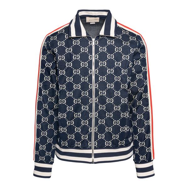 Felpa blu con pattern logo                                                                                                                            Gucci 496919 retro