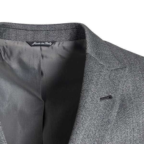 Double-breasted grey blazer                                                                                                                            REVERES