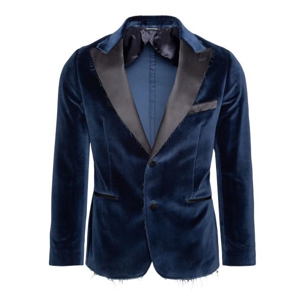Blazer blu monopetto in velluto                                                                                                                        REVERES                                            REVERES