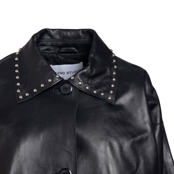 Black leather jacket with studs                                                                                                                        STAND STUDIO