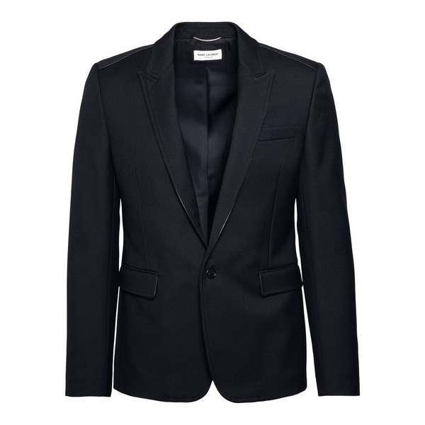 Black blazer with shiny finishes                                                                                                                      Saint laurent 614671 front