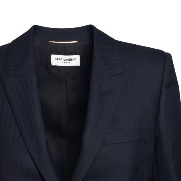 Single-breasted dark blue blazer                                                                                                                       SAINT LAURENT