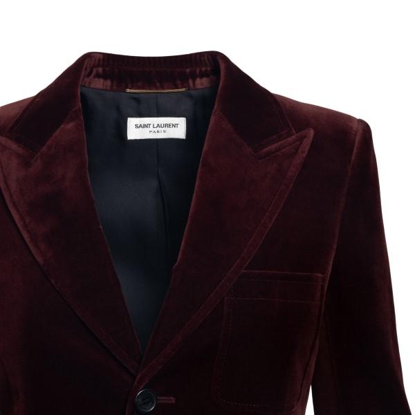 Single-breasted blazer in burgundy velvet                                                                                                              SAINT LAURENT