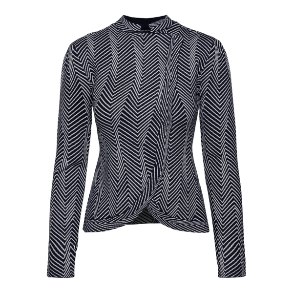 Black cardigan with geometric pattern                                                                                                                  EMPORIO ARMANI