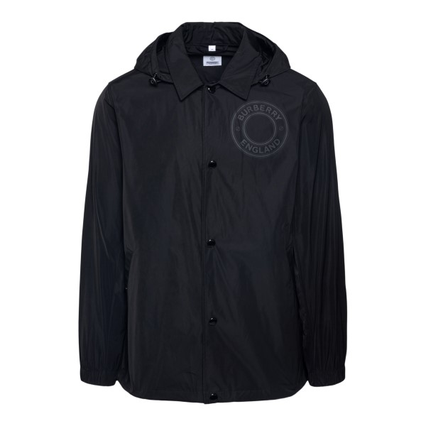 Black jacket with tonal logo print                                                                                                                    Burberry 8043144 back