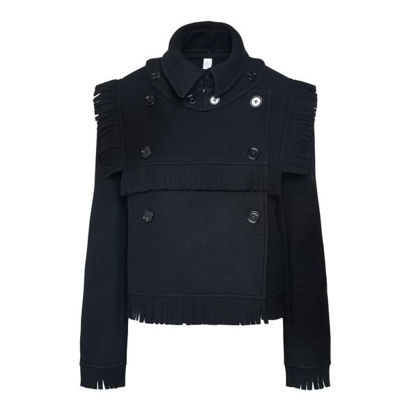 Black jacket with fringes                                                                                                                             Burberry 8046684 back
