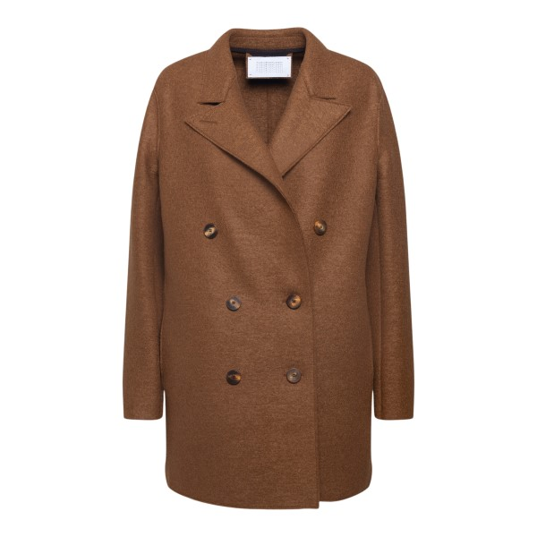 Brown double-breasted coat                                                                                                                            Harris Wharf London A2341MLK back