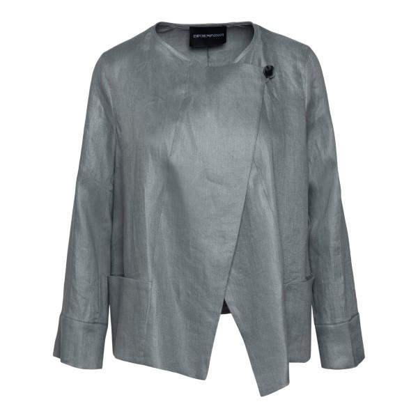Grey blazer with off-center closure                                                                                                                   Emporio Armani ANG18T back