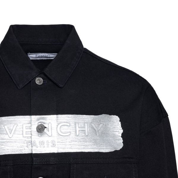 Giacca in denim nera con stampa argento                                                                                                                GIVENCHY GIVENCHY