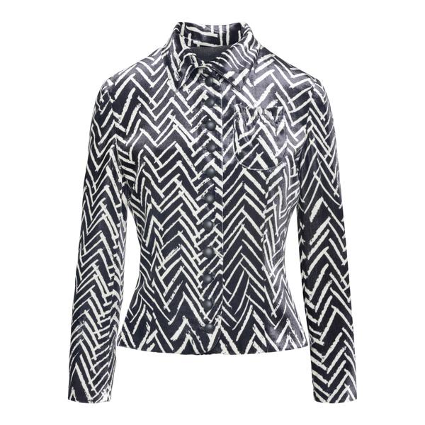 Two-tone shirt with geometric pattern                                                                                                                  EMPORIO ARMANI