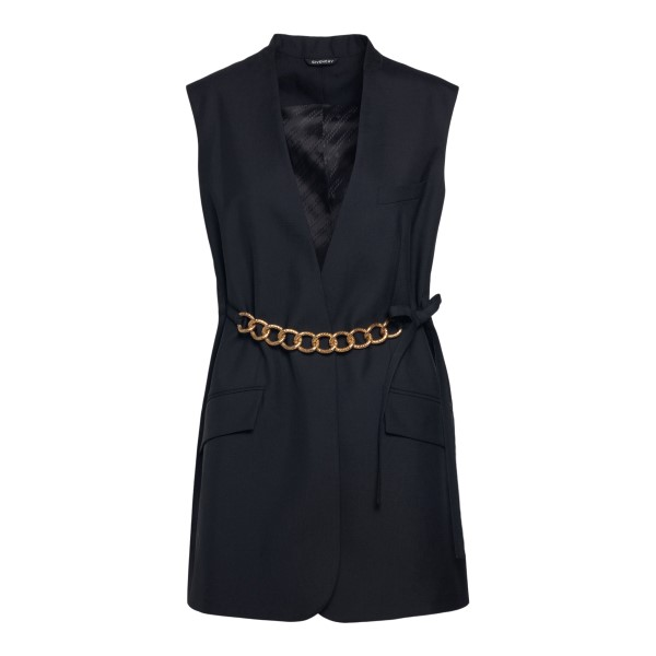 Sleeveless black jacket with gold chain                                                                                                                GIVENCHY